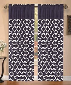 Only $9.99!!! Navy Cameron Curtain Panel #navy #curtains #sale #home #decor #nautical #pattern #zulilyfinds