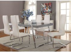 Giovanni High Gloss Grey Dining Table from Coaster Furniture, 106011 Grey Dining Tables, Extendable Dining Table, Dining Room Sets, Dining Room Design, Dining Room Table, A Table, White Glass Dining Table, Glass Dining Table Rectangular, Round Dining