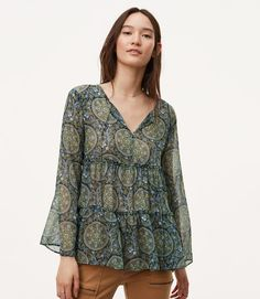 Primary Image of Medallion Tiered Bell Sleeve Blouse