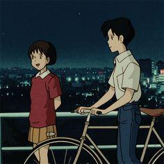 Ghibli Whisper of the heart Seiji x Shizuku ~. Old Anime, Manga Anime, Anime Art, Studio Ghibli Art, Studio Ghibli Movies, Film Animation Japonais, Animation Film, Hayao Miyazaki, Studio Ghibli Characters