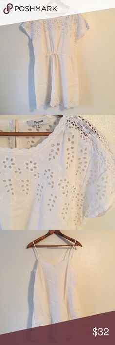 Madewell ✨ Ivory Eyelet dress This dress is perfect for any spring gathering! It is super comfortable and flattering to any body style(Waist tie optional)! I never actually wore this out so basically brand new! Madewell Dresses Mini
