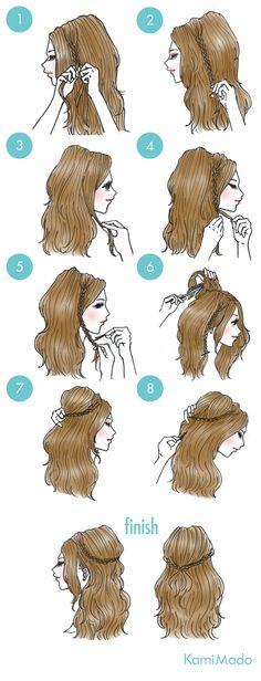 髪の毛を三つ編みにして頭を囲うだけで簡単、華やかなカチューシャ風ハーアフアップヘアアレンジをご紹介します。