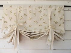 Classic style window shade – roll up, or create gentle folds, held in place with natural white cotton twill ties. The shade shown is 30 wide. All
