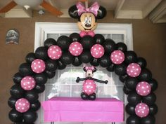 Minnie mouse birthday decoration for girls Minnie Mouse Birthday Decorations, Minnie Mouse Theme Party, Minnie Mouse 1st Birthday, Minnie Mouse Baby Shower, Girl Birthday Themes, Mickey Party, Minnie Maus Ballons, Balloon Arch, Balloons