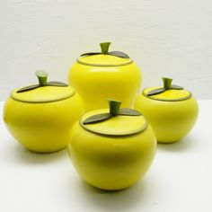 1950's Aluminum Apple Shaped Canisters