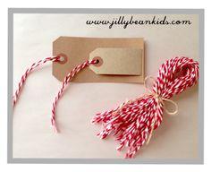 Pre-Cut Baker's Twine Lengths. Great for ornaments and tags. Jilly Bean Kids www.jillybeankids.com