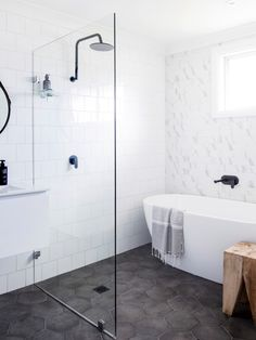 Hexagonal bathroom floor tiles
