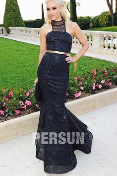 Robe de star Gwen Stefani noire et longue à jupe en queue de poisson – Persun.fr