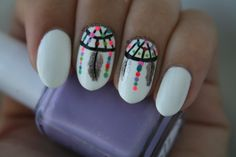 Neon-y dreamcatcher nail art: click through for more! #getglossy #glossynails #nailart #pretty #dreamcatcher #girly #love #beauty #nailpolish #neon