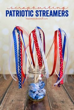 These scrapbusting streamers are perfect for patriotic parades! And they can be made with stuff you probably already have in your stash.