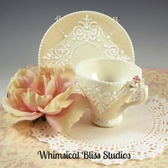 Whimsical Bliss Studios - Peach Filigree Cup & Saucer