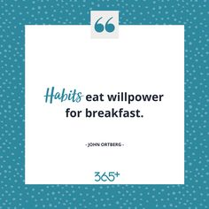 Habits are really the key to success. ✅ Willpower will serve you in the beginning when you're full of energy and enthusiasm, but as soon as you hit a bump in the road you will give up. You need to establish habits that are automatic so you don't need to rely on your willpower. 💪🏼 If you want hints and tips on how to make create healthy habits which will set you up for success head to our website and get on the list for our upcoming program. 💻 ➡️ www.threesixfiveplus.com ⬅️