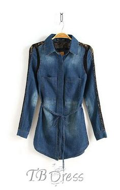 #Joint #Blouses #Split Glamour Split Joint Long Sleeves Lace Denim Blouse