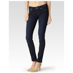 Paige Skyline Skinny - Mona ($179) ❤ liked on Polyvore featuring jeans, denim, mona, pants, mid rise skinny jeans, dark wash jeans, white jeans, white skinny leg jeans and dark wash skinny jeans