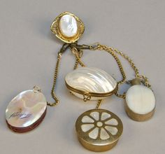 Antique Victorian 5 Piece Chatelaine, Mother-of-Pearl, c1800s