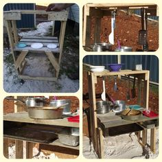 DIY Recycled Pallet Projects for Kids! Love the outdoor kitchen Used Pallets, Wooden Pallets, Recycled Pallets, Diy Pallet Projects, Projects For Kids, Easy Projects, Pallet Ideas, Diy Recycle, Recycling
