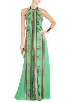 Arlenis Scarf Print Evening Gown by BCBG