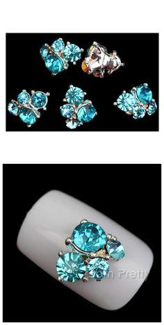 $3.98 3Pcs 3D Nail Art Sticker Glittered Sea Blue Rhinestones Nail Art Decoration - BornPrettyStore.com