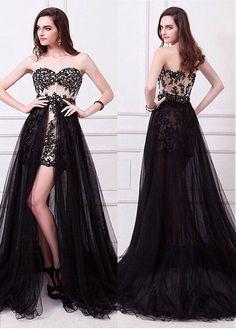 #Dressilyme - #Dressilyme Dressilyme Graceful Tulle Sweetheart Neckline A-line Evening Dresses With Lace Appliques & Hot-fix Rhinestones - AdoreWe.com