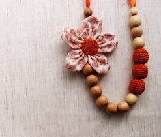 Flower Breastfeeding Accessory /Crochet Fabric Necklace / Teething toy / Crochet Jewelry