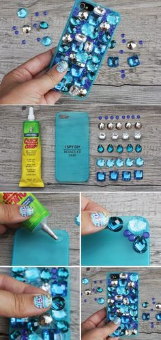 DIY a cell phone case,so cool,right? Choose some small beads,in a corner, dabbing glue onto the case and arranging the beads. #Eozy #beads