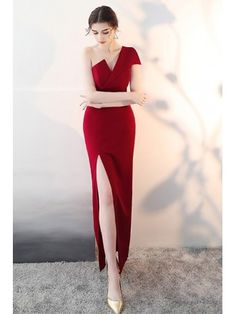 Best formal dresses Sexy One Shoulder Burgundy Dress with Slit - Dress . Fitted Prom Dresses, Sexy Dresses, Evening Dresses, Short Dresses, Fashion Dresses, Formal Dresses For Women, Long Dress Formal, Backless Dresses, Long Gowns