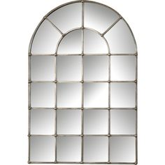 Metal Arch Window Wall Mirror Reviews ❤ liked on Polyvore featuring home, home decor, mirrors, metal wall mirror, arched window mirror, metal home decor and metal mirror