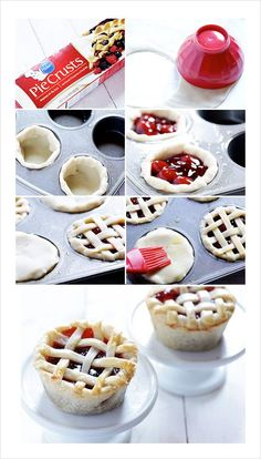 Pie crust with store bough cherry filling = cute mini cherry pies!!
