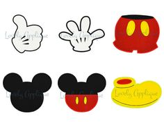 Mickey Shapes Set of 6  Gloves Pants Shoe Head by LovelyApplique