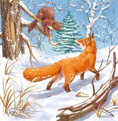 Hello Squeaky drawing by minicheva Christmas Animals, Christmas Art, Animal Pictures, Cute Pictures, Forest Theme, Candy Art, Fox Art, Winter Art, Small Art