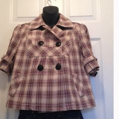 Plaid double breasted swing jacket Excellent condition. Colors are- purple with tans and black Relativity Jackets & Coats
