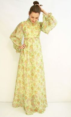 Vintage 1970s GREIGS SYDNEY Puff Sleeve Maxi Flora Dress Sleeves Au 6 US 2 Eu 34 | eBay