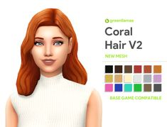 """greenllamas: """" greenllamas - CORAL HAIRS So here we are yet again with another edit of the infamous outdoor retreat hair! I needed to remake my painfully trashy Jive hair so I made this, and thanks to. Sims Four, Sims 4 Mm Cc, Maxis, Sims 4 Game Mods, Sims 4 Mods, Coral Hair, The Sims 4 Cabelos, Pelo Sims, Sims 4 Collections"""