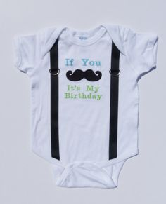 First Birthday Boy Onesie Mustache and Suspenders For Your Little Man Who Is 1 Years Old via Etsy