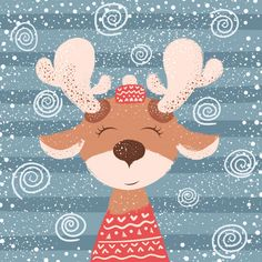 Cartoon funny deer character winter vector image on VectorStock Hirsch Illustration, Deer Illustration, Winter Illustration, Christmas Illustration, Christmas Pictures, Christmas Art, Winter Christmas, Xmas Wallpaper, Cute Christmas Wallpaper