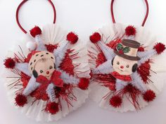 SNOWMAN white w/red CHRISTMAS vintage style chenille ORNAMENTS set of 2 medallions by StanleyAndStewart on Etsy https://www.etsy.com/listing/106241638/snowman-white-wred-christmas-vintage