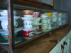 The Country House: tea cup collection display