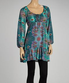Another great find on #zulily! Teal Paisley Peasant Dress by Fashion Fuse #zulilyfinds