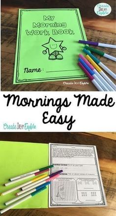 Morning Work Made Easy! - Morning work for first, second, and third grade. Each page includes math, ELA and either printing or cursive writing package. There is also a sentence editing section.