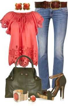"""Olive and Coral"" by angela-windsor on Polyvore"