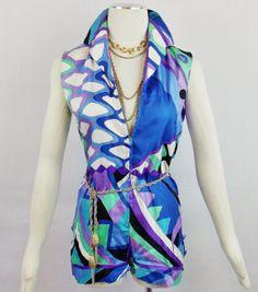 Vintage EMILIO PUCCI FUNKY Romper Jumpsuit Size Small Mod Vintage Fashion on Etsy, $425.00