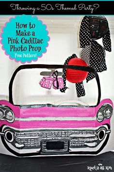 """Create amazing photo ops with this """"life-size"""" pink Cadillac cardboard cut-out. It's the perfect prop for outstanding party memories and pictures!"""