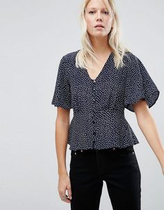 Buy it now. ASOS Tea Blouse in Spot Print - Multi. Top by ASOS Collection, Lightweight silky-feel fabric, V-neck, Button placket, Wide-cut short sleeves, Relaxed fit, Machine wash, 100% Polyester, Our model wears a UK 8/EU 36/US 4. ABOUT ASOS COLLECTION Score a wardrobe win no matter the dress code with our ASOS Collection own-label collection. From polished prom to the after party, our London-based design team scour the globe to nail your new-season fashion goals with need-right-now…