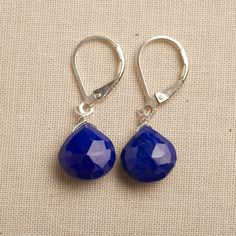 chakra earrings lapis earrings blue gemstone earrings by izuly, $49.00