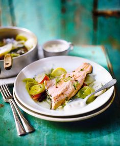 Steamed trout with vegetables poached in white wine recipe. Chef Adam Byatt shares a beautiful trout dish that immortalises childhood fishing trips with his dad. Trout Recipes, Cod Recipes, Dairy Free Recipes, Seafood Recipes, Asian Recipes, Cooking Recipes, Healthy Recipes, Yummy Recipes, Healthy Food