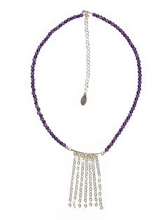 House of Shakti Divine Protection Shower Necklace.Amethyst, Hematite, Silver.    Affirmation: I am divinely protected, guided, and strengthened.