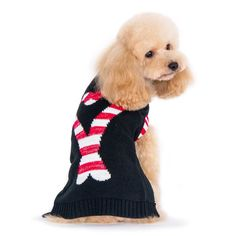Your doggy will stand out at holiday parties in this sweater. Black fleece contrasted with shimmery red and white candy cane graphic makes this sweater fun Small Pug, Norfolk Terrier, Mini Poodles, Dog Sweaters, Fleece Sweater, Mini Dachshund, Border Terrier, Fox Terrier, Christmas Dog