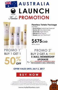 It's finally here! We are officially introducing Flawless into our Australian market! Take advantage of our first, second or even both promotions! Valid until July 6th for our fellow Aussies!