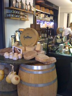 We love to visit local cheese shops.  This one is in Lugano, Switzerland.  Maybe we can bring home some alp cheese.