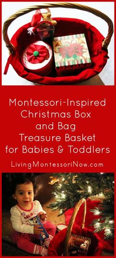 Recycle Christmas gift boxes and gift bags to create a Montessori-inspired Christmas box and bag treasure basket for babies and toddlers ... easy to prepare for before or after Christmas
